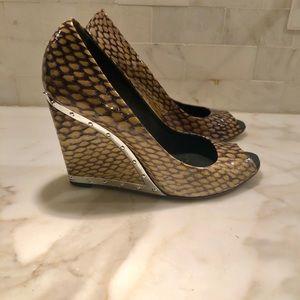 BCBG MAXAZRIA leather open toe wedge shoes